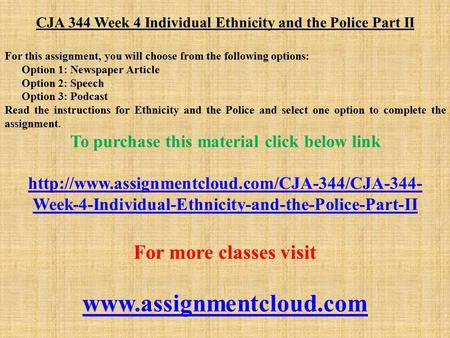 CJA 344 Week 4 Individual Ethnicity and the Police Part II For this assignment, you will choose from the following options: Option 1: Newspaper Article.