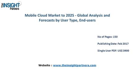 Mobile Cloud Market to Global Analysis and Forecasts by User Type, End-users No of Pages: 150 Publishing Date: Feb 2017 Single User PDF: US$ 3900.