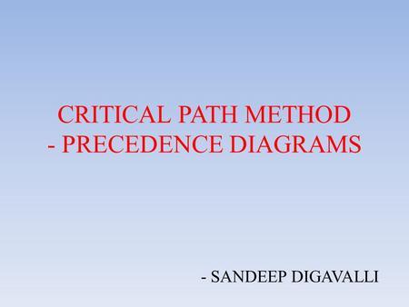 CRITICAL PATH METHOD - PRECEDENCE DIAGRAMS - SANDEEP DIGAVALLI.