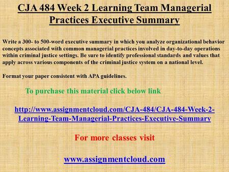 cja 394 court managment executive summary