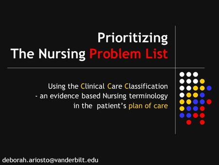 Prioritizing The Nursing Problem List Using the Clinical Care Classification - an evidence based Nursing terminology in the patients plan of care