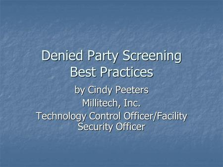 Denied Party Screening Best Practices