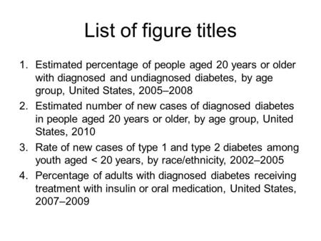 List of figure titles 1.Estimated percentage of people aged 20 years or older with diagnosed and undiagnosed diabetes, by age group, United States, 2005–2008.