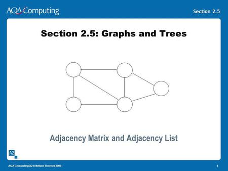 AQA Computing A2 © Nelson Thornes 2009 Section 2.5 1 Section 2.5: Graphs and Trees Adjacency Matrix and Adjacency List.