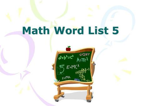 Math Word List 5.