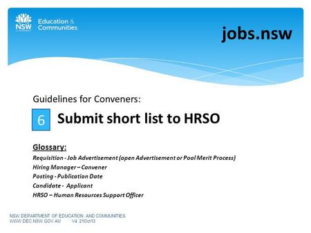 Guidelines for Conveners: Submit short list to HRSO Glossary: Requisition - Job Advertisement (open Advertisement or Pool Merit Process) Hiring Manager.