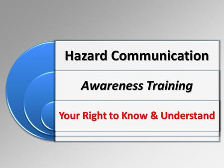 Hazard Communication Awareness Training Your Right to Know & Understand.