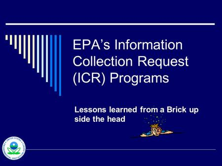 EPAs Information Collection Request (ICR) Programs Lessons learned from a Brick up side the head.