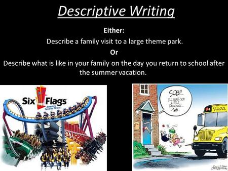 Describe a family visit to a large theme park.
