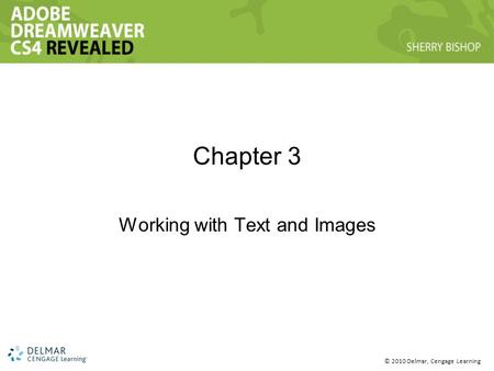 © 2010 Delmar, Cengage Learning Chapter 3 Working with Text and Images.