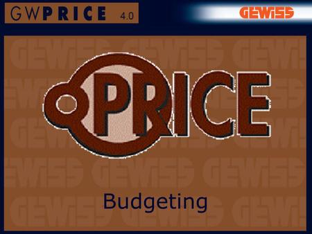 Budgeting. What is GWPRICE for? It is a software programme for making up Lists of materials and Quantities estimates.