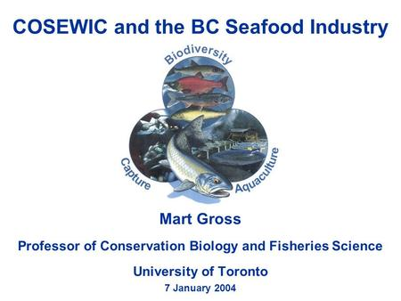 COSEWIC and the BC Seafood Industry Mart Gross Professor of Conservation Biology and Fisheries Science University of Toronto 7 January 2004.
