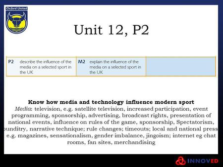 Unit 12, P2 Know how media and technology influence modern sport Media : television, e.g. satellite television, increased participation, event programming,