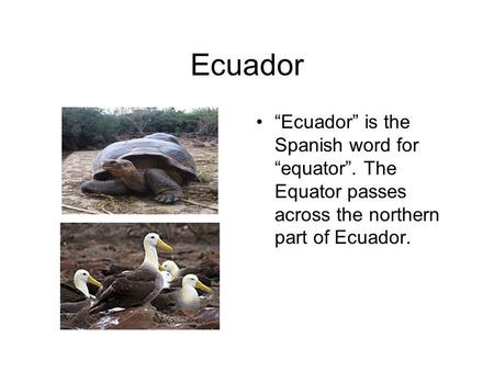 Ecuador Ecuador is the Spanish word for equator. The Equator passes across the northern part of Ecuador.