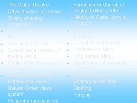 The Globe Theatre Other theatres of the era Rivalry of <strong>acting</strong> companies <strong>Acting</strong> in Shakespeares time Closing of theatres Questionable morality of theatre.