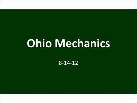 Ohio Mechanics 8-14-12. Responsibilities Before and During the Game CREW: Pre-Game Conference: All officials actively engaged in discussion Referee: Talk.