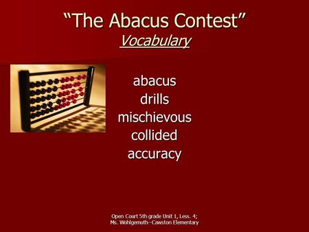 """The Abacus Contest"" Vocabulary"