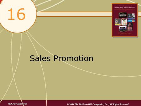 16 Sales Promotion McGraw-Hill/Irwin