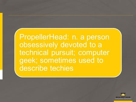 PropellerHead: n. a person obsessively devoted to a technical pursuit; computer geek; sometimes used to describe techies.