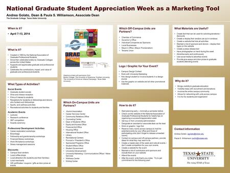Andrea Golato, Dean & Paula S. Williamson, Associate Dean The Graduate College, Texas State University National Graduate Student Appreciation Week as a.