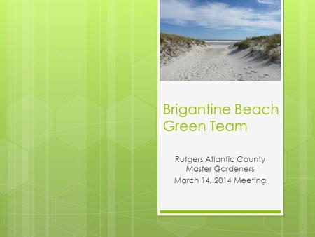 Brigantine Beach Green Team Rutgers Atlantic County Master Gardeners March 14, 2014 Meeting.