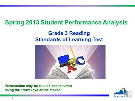 Spring 2013 Student Performance Analysis Grade 3 Reading Standards of Learning Test 1 Presentation may be paused and resumed using the arrow keys or the.