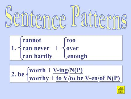 worth + V-ing/N(P) worthy + to V/to be V-en/of N(P) cannot too 1. can never + over can hardly enough 2. be.