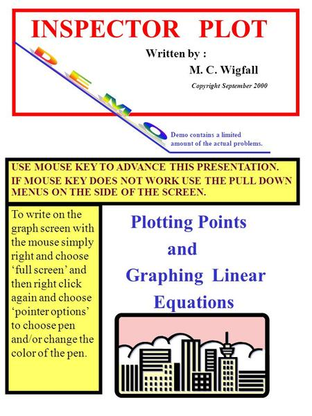 INSPECTOR PLOT Written by : M. C. Wigfall Plotting Points and Graphing Linear Equations Copyright September 2000 Demo contains a limited amount of the.