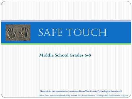 Safe Touch Middle School Grades 6-8