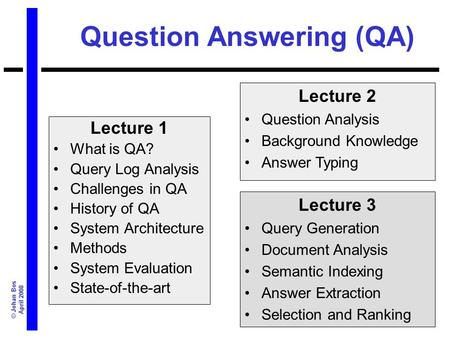 © Johan Bos April 2008 Question Answering (QA) Lecture 1 What is QA? Query Log Analysis Challenges in QA History of QA System Architecture Methods System.