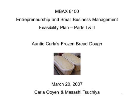 1 MBAX 6100 Entrepreneurship and Small Business Management Feasibility Plan – Parts I & II Auntie Carlas Frozen Bread Dough March 20, 2007 Carla Ooyen.