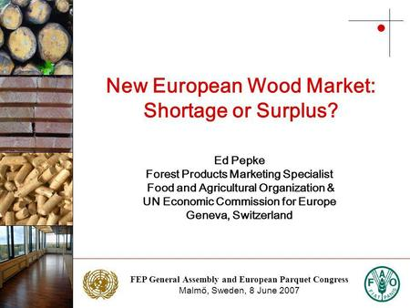 FEP General Assembly and European Parquet Congress Malmö, Sweden, 8 June 2007 Photo: NTC Photo: Stora Enso New European Wood Market: Shortage or Surplus?