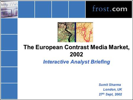 The European Contrast Media Market, 2002 Interactive Analyst Briefing Sumit Sharma London, UK 27 th Sept, 2002.