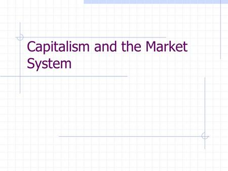 Capitalism and the Market System. Private Property Freedom of Enterprise Freedom of Choice Self-InterestCompetitionRoundabout Production SpecializationDivision.