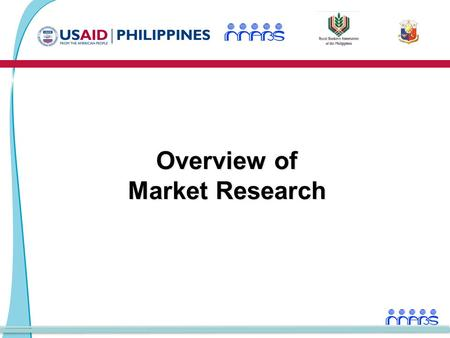 Overview of Market Research. Market Research2 Market Research Module Schedule of Activities Time Activity Day 1: 9:00 - 10:00-Overview of Market Research.