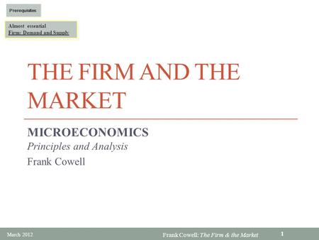 MICROECONOMICS Principles and Analysis Frank Cowell