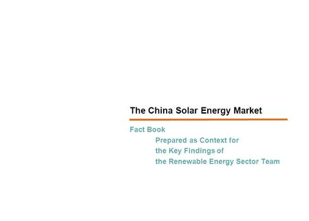 The China Solar Energy Market