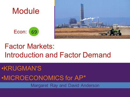 KRUGMAN'S MICROECONOMICS for AP* Factor Markets: Introduction and Factor Demand Margaret Ray and David Anderson Econ: 69 Module.