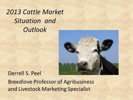 2013 Cattle Market Situation and Outlook Derrell S. Peel Breedlove Professor of Agribusiness and Livestock Marketing Specialist.