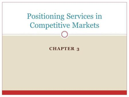 CHAPTER 3 Positioning Services in Competitive Markets.