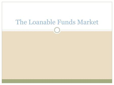 The Loanable Funds Market. Equilibrium Interest Rate Savers and buyers are matched in markets governed by supply and demand There are many markets, but.