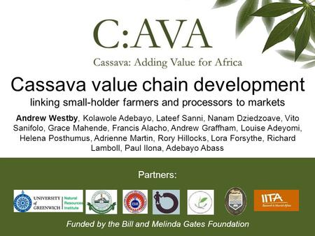 Cassava value chain development linking small-holder farmers and processors to markets Andrew Westby, Kolawole Adebayo, Lateef Sanni, Nanam Dziedzoave,