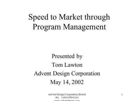 Speed to Market through Program Management