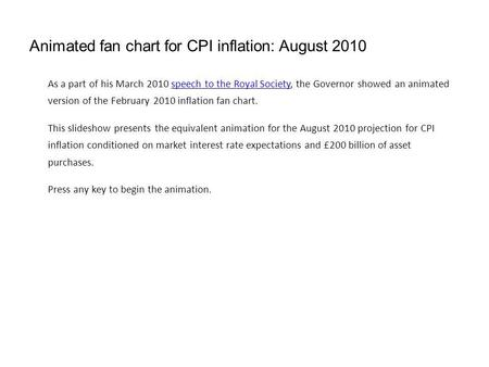 Animated fan chart for CPI inflation: August 2010 As a part of his March 2010 speech to the Royal Society, the Governor showed an animated version of the.