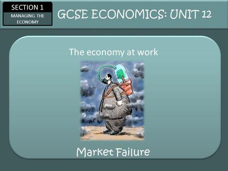 SECTION 1 MANAGING THE ECONOMY Market Failure The economy at work GCSE ECONOMICS: UNIT 12.