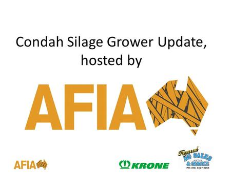 Condah Silage Grower Update, hosted by. The Australian Fodder Industry Association is the peak body for the Australian fodder industry connecting all.