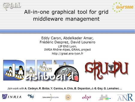 All-in-one graphical tool for grid middleware management Eddy Caron, Abdelkader Amar, Frédéric Desprez, David Loureiro LIP ENS Lyon, INRIA Rhône-Alpes,