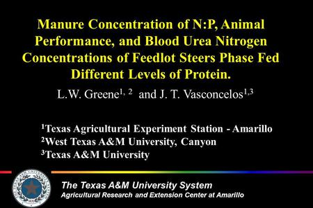 The Texas A&M University System Agricultural Research and Extension Center at Amarillo Manure Concentration of N:P, Animal Performance, and Blood Urea.