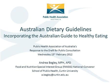 Public Health Association of Australia's