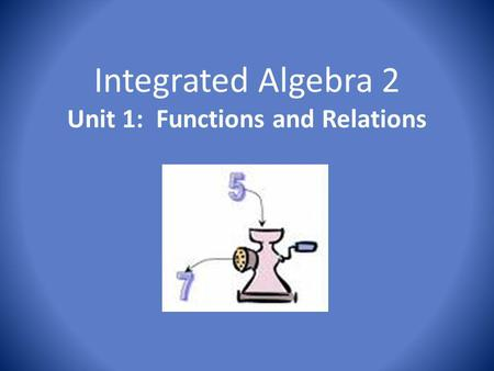 Integrated Algebra 2 Unit 1: Functions and Relations.